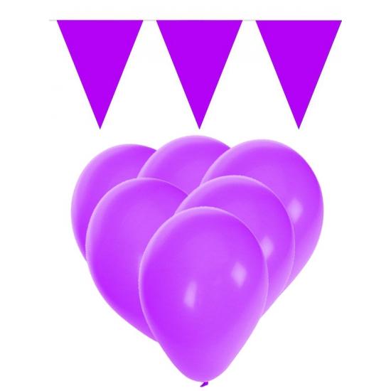 15 paarse ballonnen met 2 paarse vlaggenlijnen