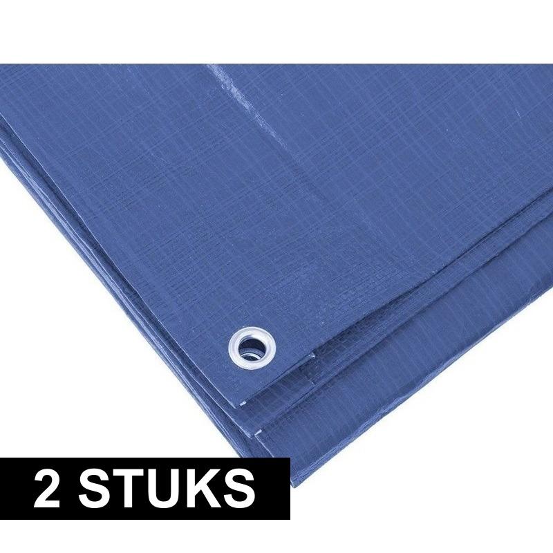2x Blauwe afdekzeilen-dekzeilen 4 x 6 meter