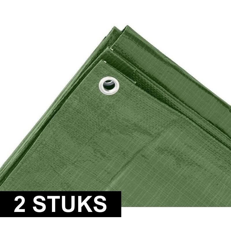 2x Groene afdekzeilen-dekzeilen 4 x 5 meter