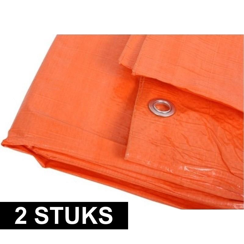 2x Oranje afdekzeilen-dekzeilen 5 x 6 meter