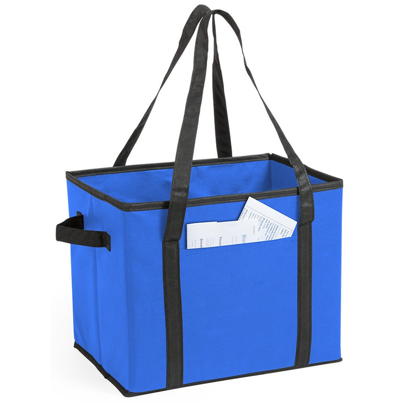 2x stuks auto kofferbak-kasten organizer tassen blauw vouwbaar 34 x 28 x 25 cm