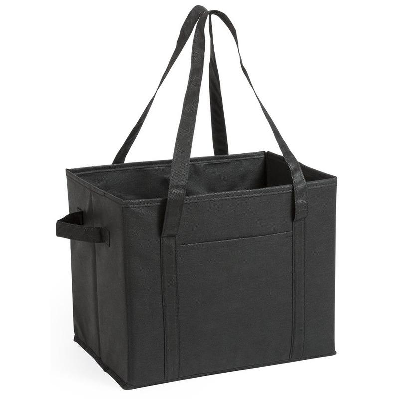 2x stuks auto kofferbak-kasten organizer tassen zwart vouwbaar 34 x 28 x 25 cm