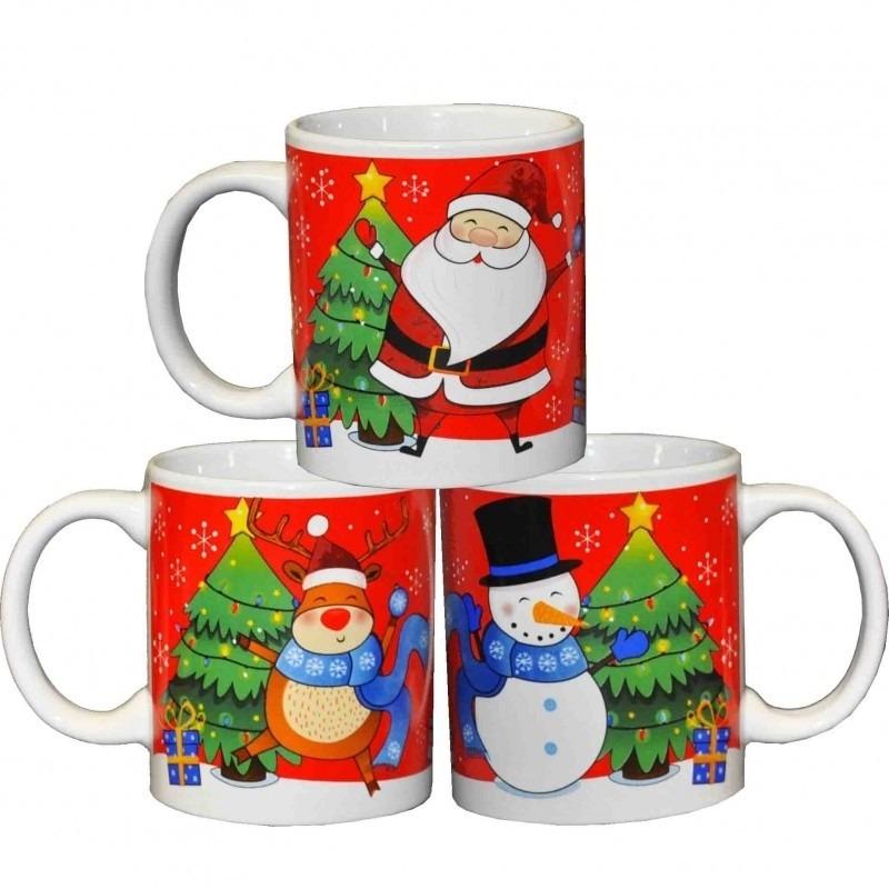 3x Kerstmokken-bekers met Kerstman-rendier-sneeuwpop