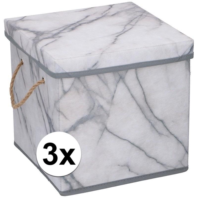 3x Marmeren opberg box-doos
