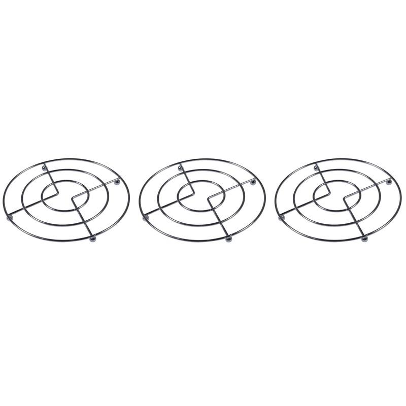 3x Pannen onderzetters chroom 17 cm