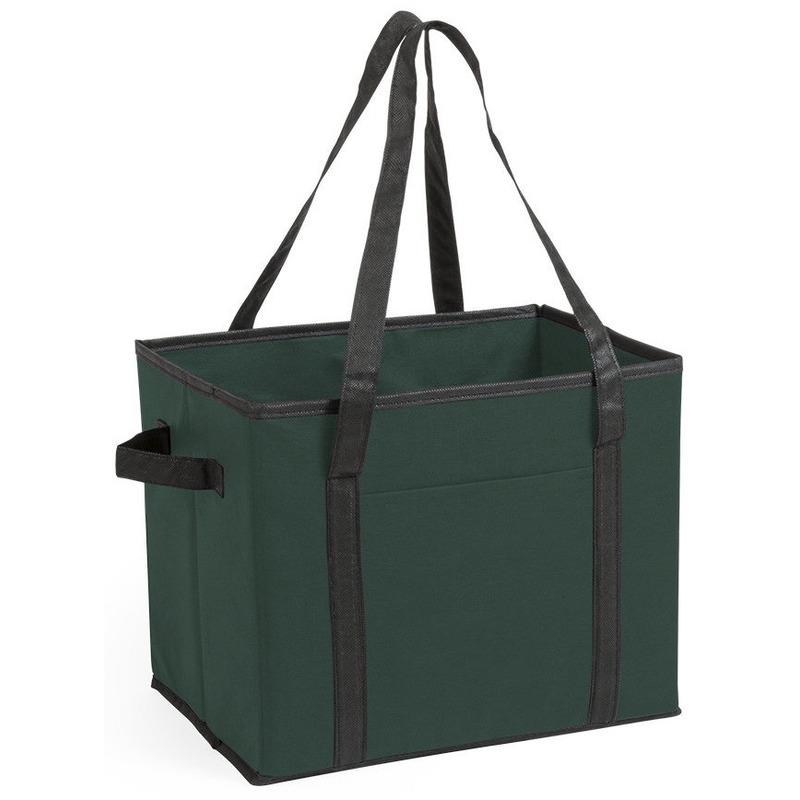 3x stuks auto kofferbak-kasten organizer tassen groen vouwbaar 34 x 28 x 25 cm