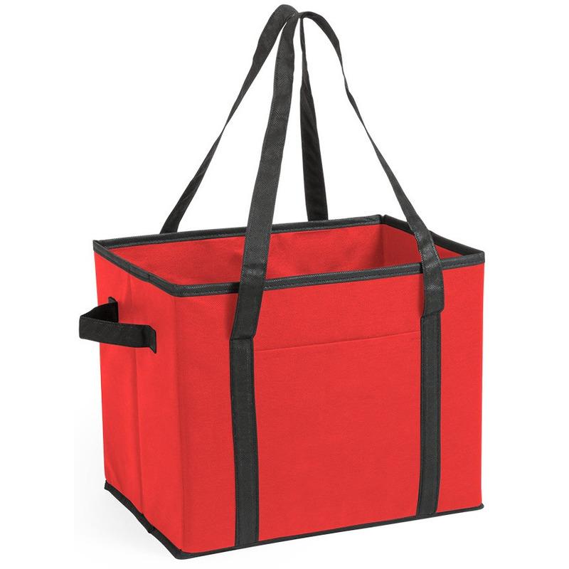 3x stuks auto kofferbak-kasten organizer tassen rood vouwbaar 34 x 28 x 25 cm