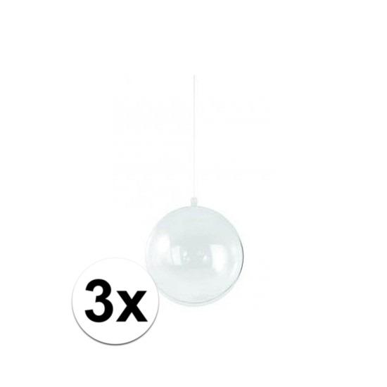 3x Vulbare kerstballen transparant 14 cm
