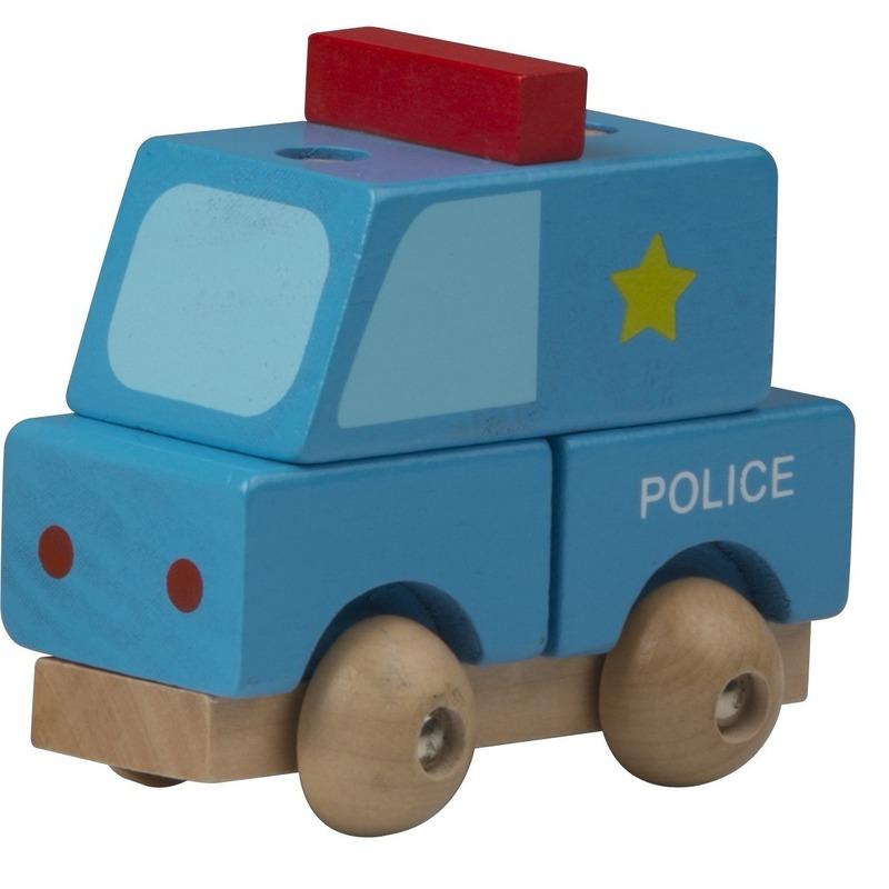 Blauwe politie wagen hout 9 cm