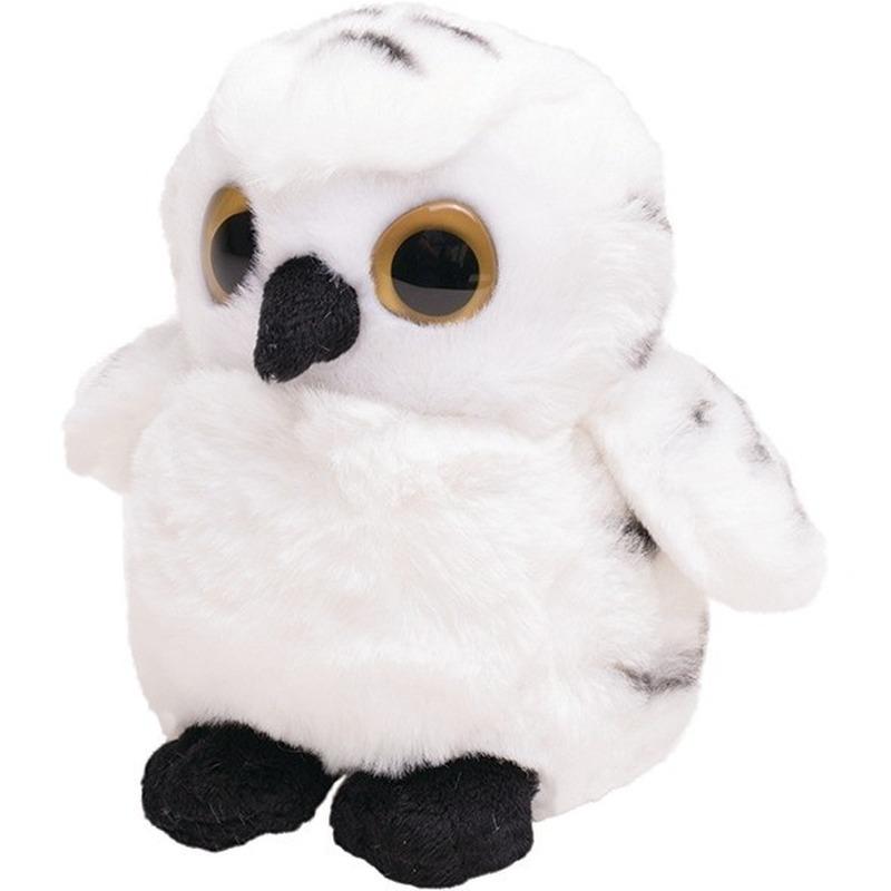 Bosdieren knuffels vogel sneeuwuil oehoe wit 13 cm