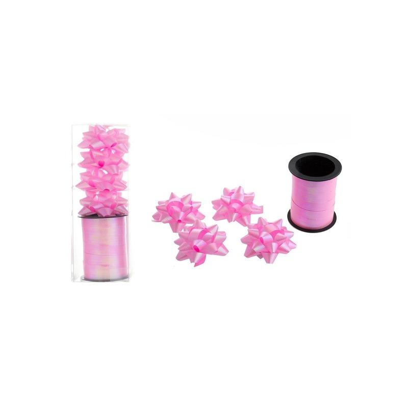 Cadeaulint 10 meter roze-4 strikjes