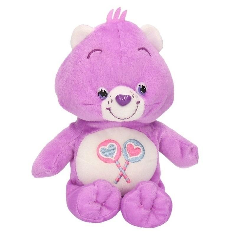 De Troetelbeertjes knuffel paars 18 cm