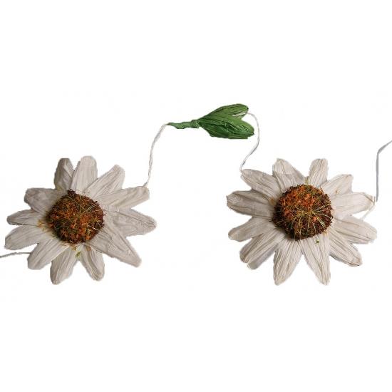 Decoratie zonnebloemen slinger wit