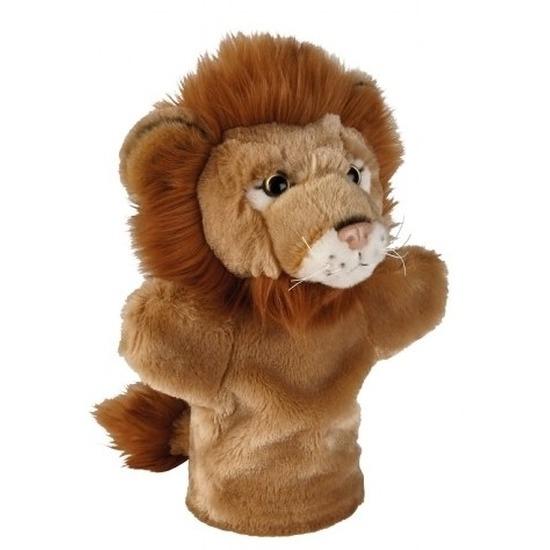 Dierentuin dieren handpoppen knuffels leeuw bruin 26 cm