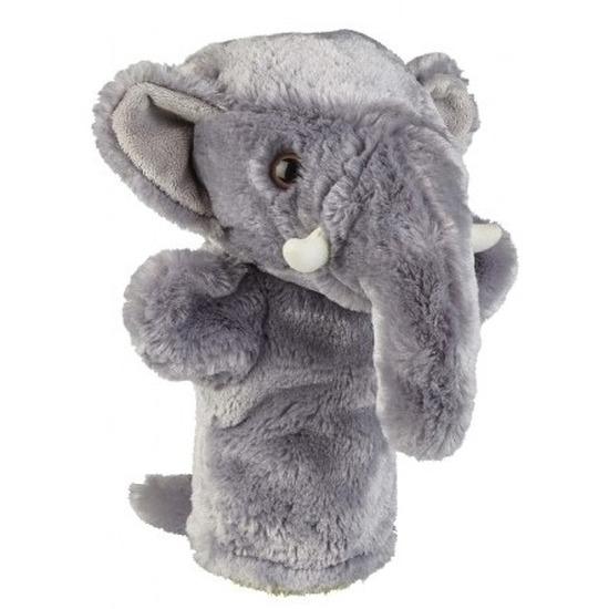 Dierentuin dieren handpoppen knuffels olifant grijs 26 cm