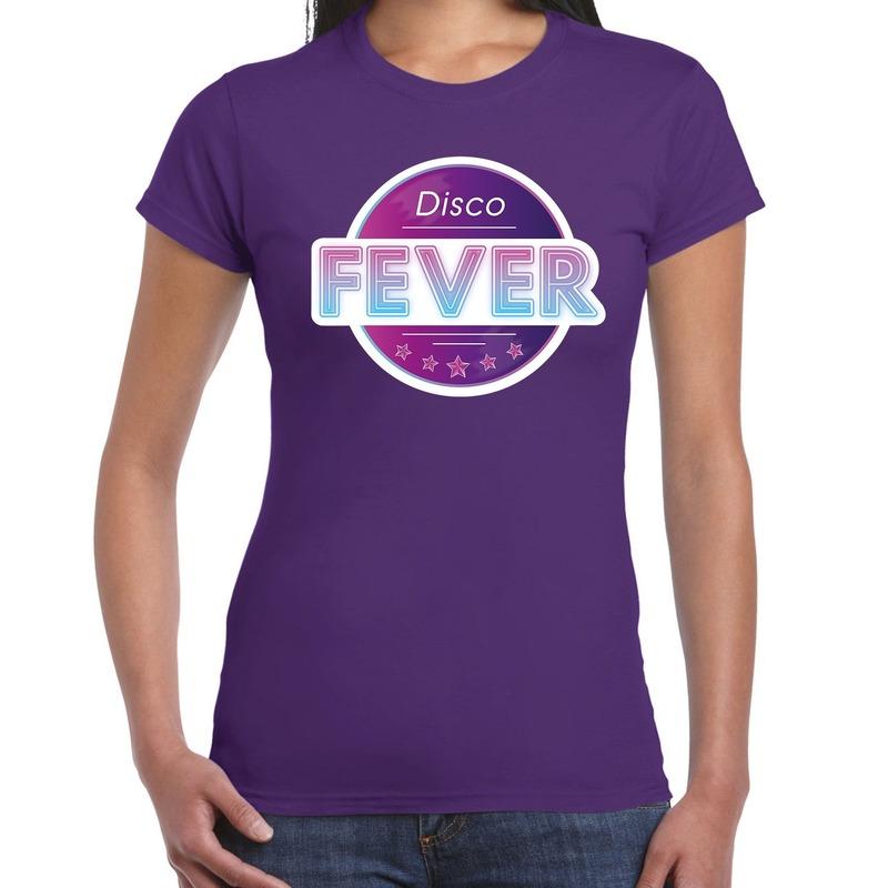 Disco fever feest t-shirt paars voor dames