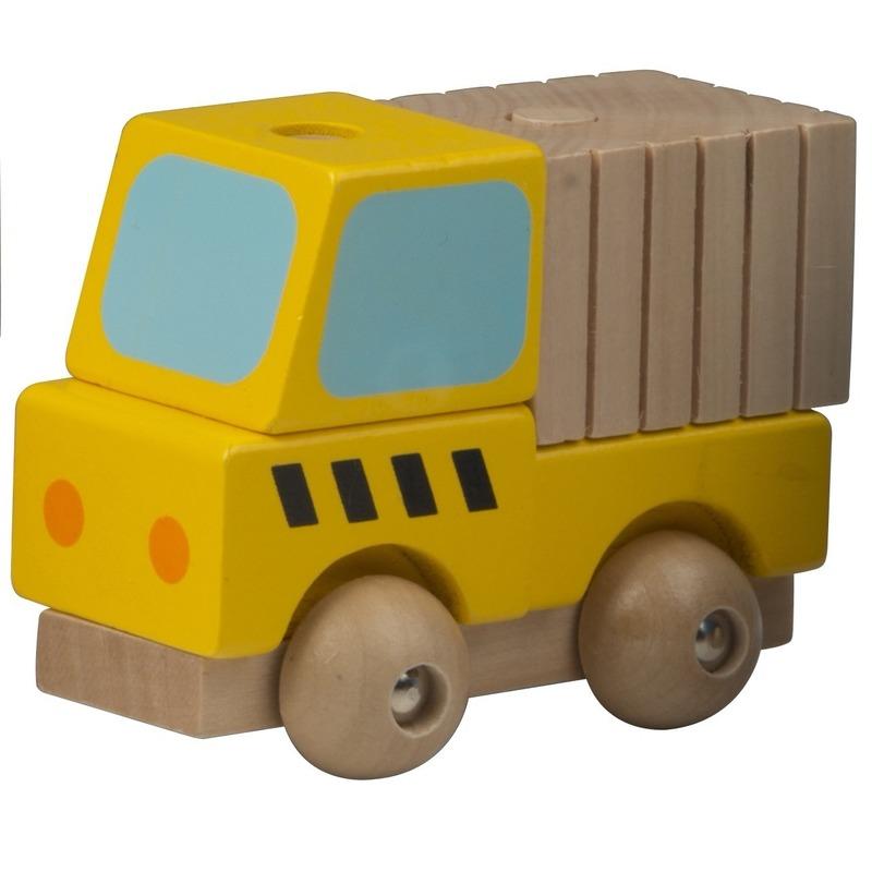 Gele vracht wagen hout 9 cm