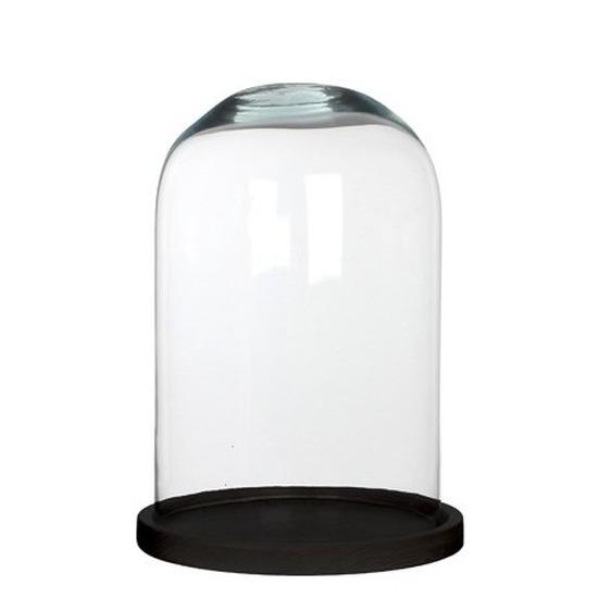 Glazen decoratie stolp Hella op zwart houten plateau 21 x 30 cm
