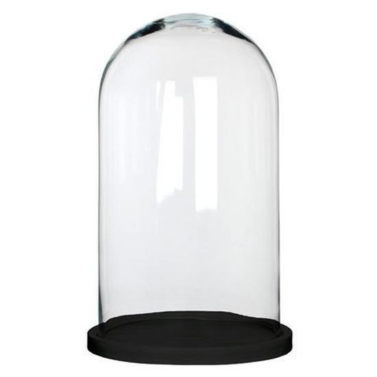 Glazen decoratie stolp Hella op zwart houten plateau 23 x 38 cm