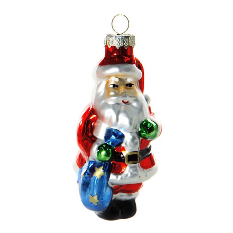Glazen kerstman kerstbal 8 cm