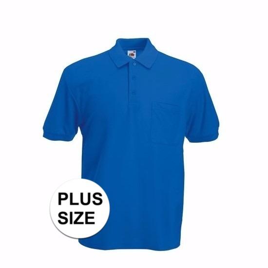 Grote maat Kreukvrije werkkleding kobaltblauw poloshirt katoen