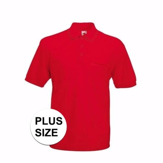 Grote maat Kreukvrije werkkleding rood poloshirt katoen