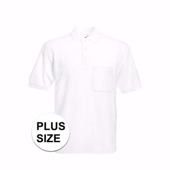 Grote maat Kreukvrije werkkleding wit poloshirt katoen