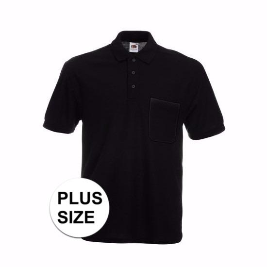 Grote maat Kreukvrije werkkleding zwart poloshirt katoen