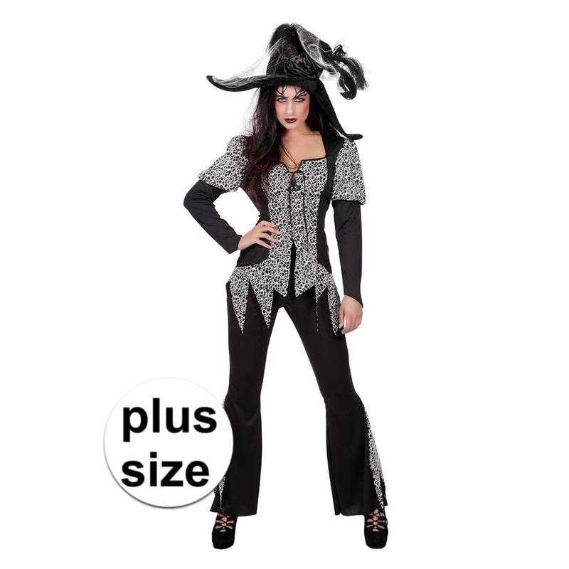 Grote maat zwart-wit heksen kostuum voor dames