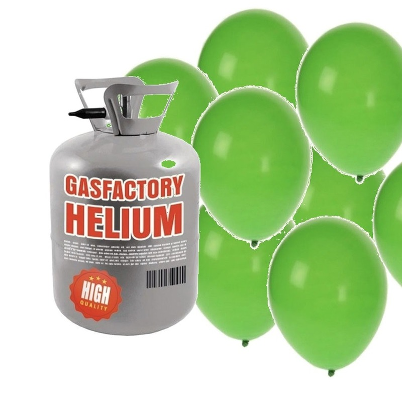 Helium tank met 30 groene ballonnen