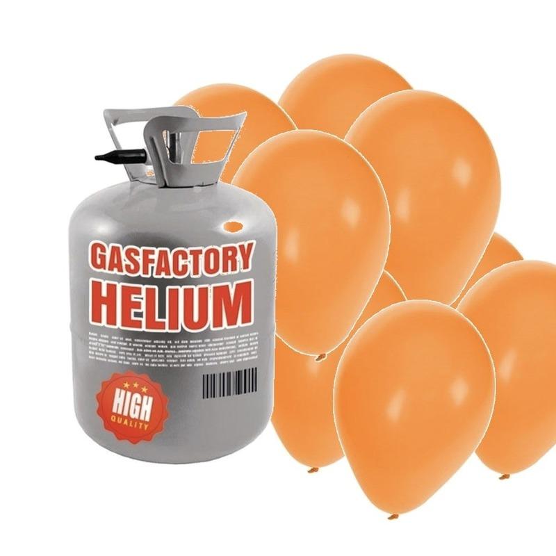 Helium tank met 50 oranje ballonnen