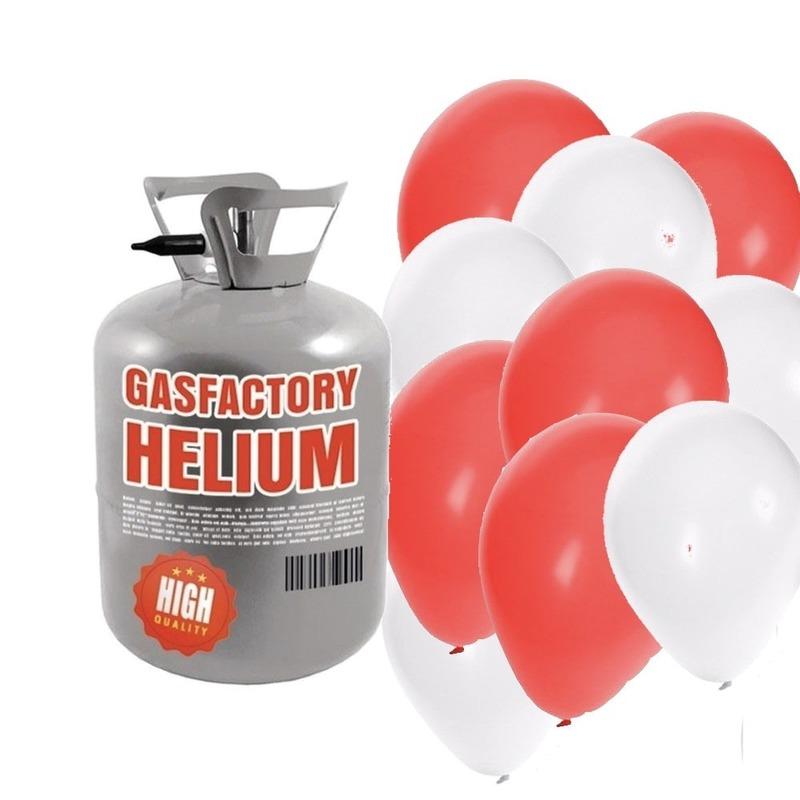 Helium tank met 50 valentijn ballonnen