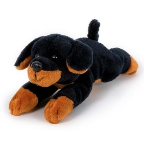 Honden knuffels rottweiler bruin 13 cm