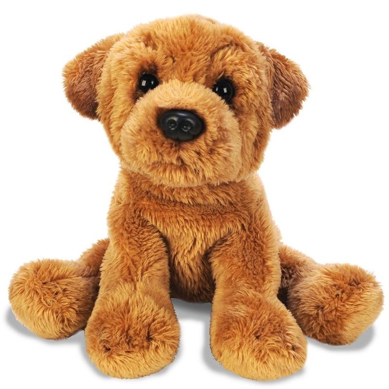Honden knuffels sharpei bruin 13 cm