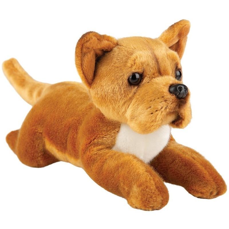 Honden knuffels staffordshire bull terrier bruin 30 cm