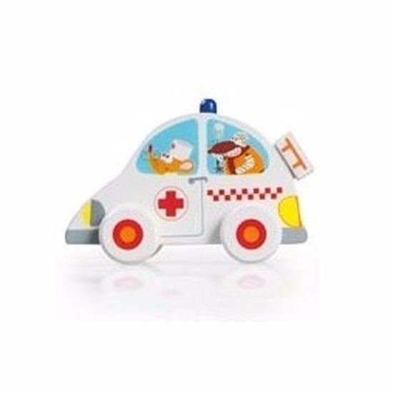Houten speelgoed witte ziekenauto