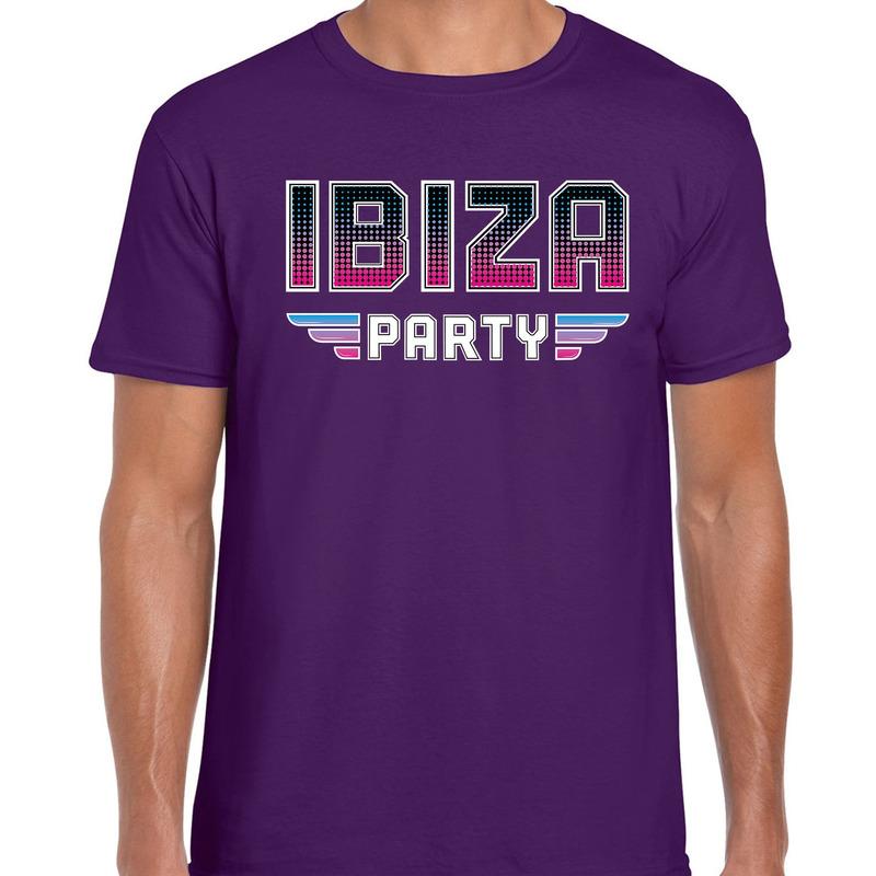 Ibiza party feest t-shirt paars voor heren