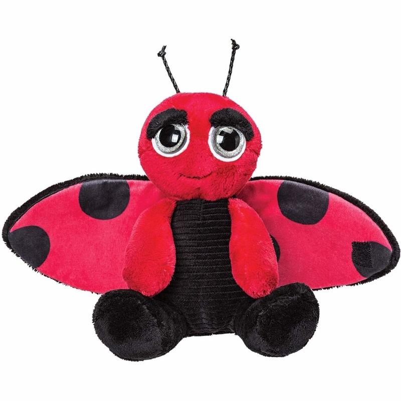 Insecten knuffels lieveheersbeestje zwart-rood 18 cm