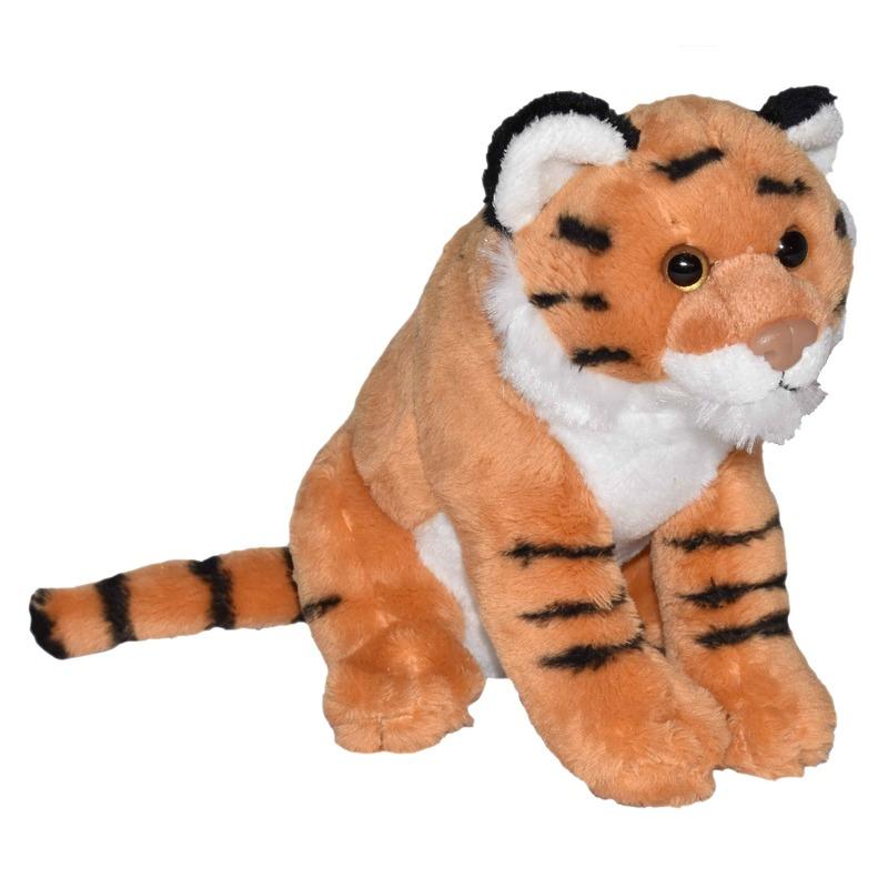 Jungledieren knuffels tijger bruin 20 cm