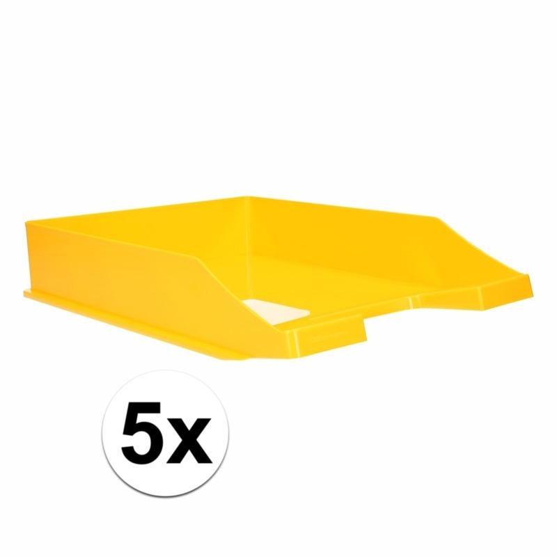 Kantoorartikelen postbak geel A4 5 x