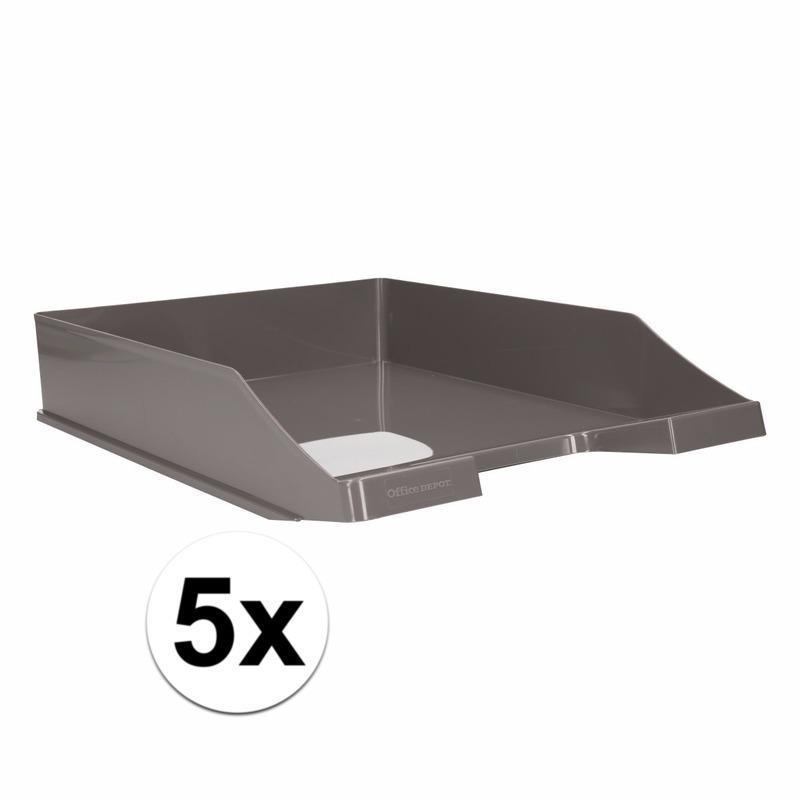 Kantoorartikelen postbak grijs A4 5 x