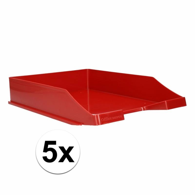 Kantoorartikelen postbak rood A4 5 x