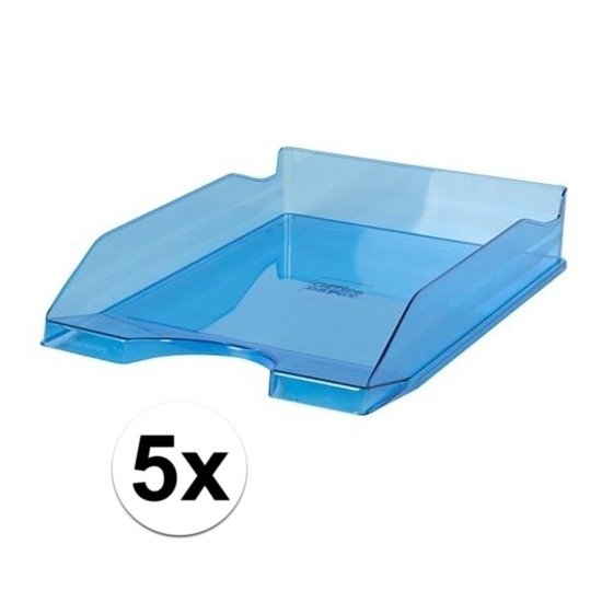 Kantoorartikelen postbak transparant blauw A4 5 x