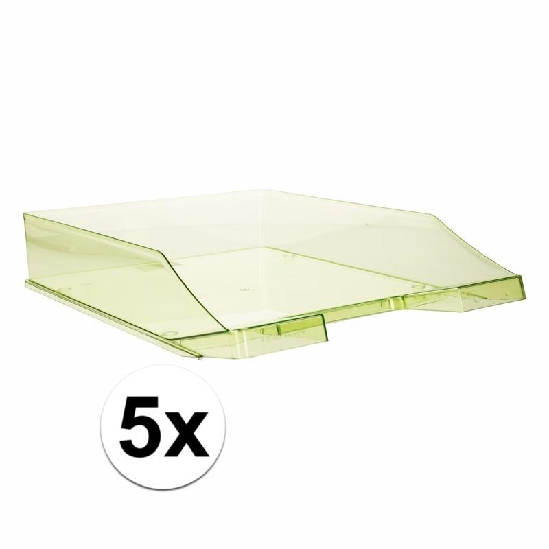 Kantoorartikelen postbak transparant groen A4 5 x