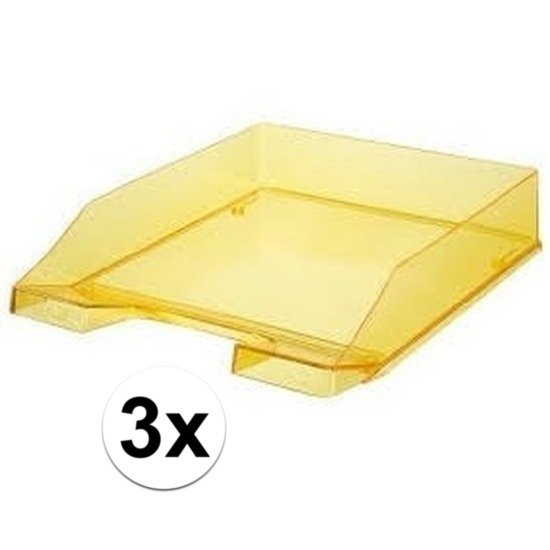 Kantoorartikelen postbakjes HAN transparant geel A4