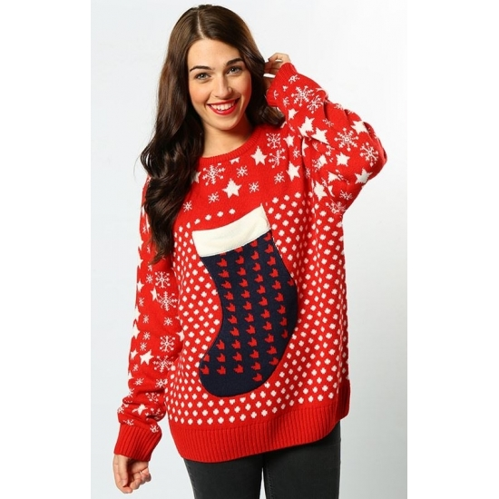 Kerst sweater rood voor vrouwen