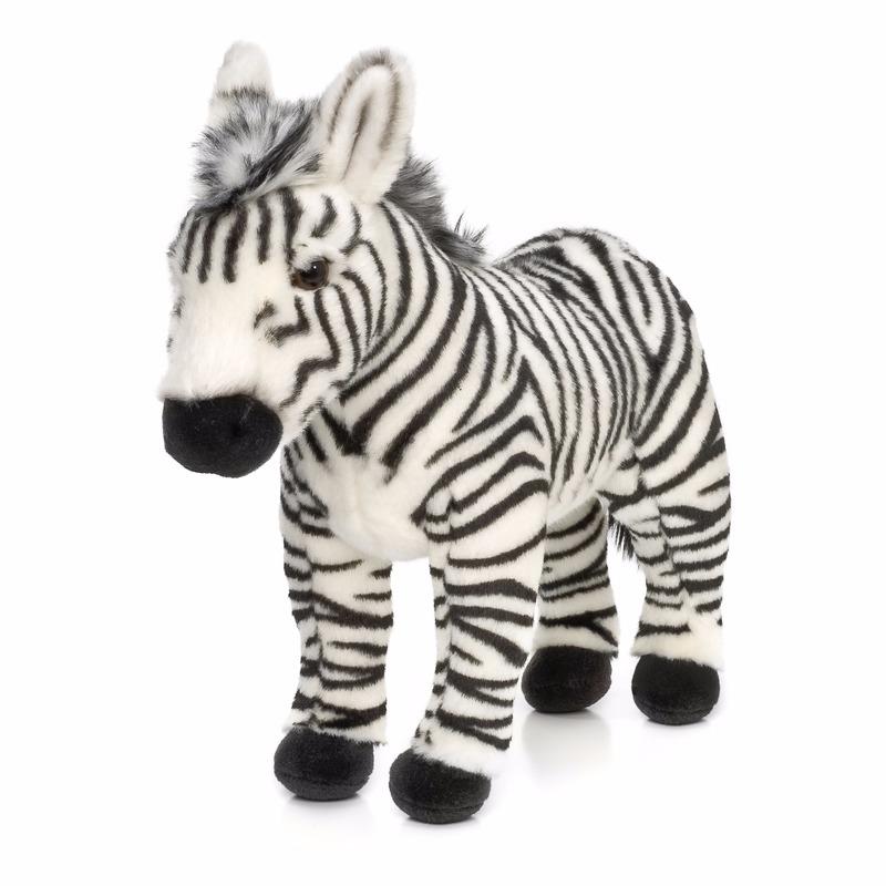 Knuffel zebra staand 23 cm