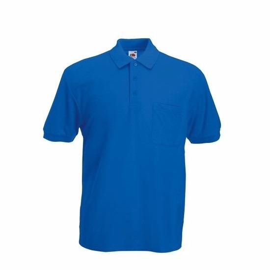 Kreukvrije werkkleding kobaltblauw poloshirt katoen