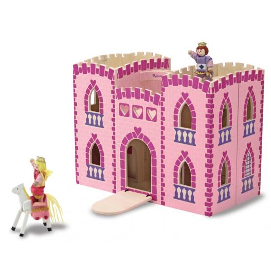 Luxe roze speelgoed kasteel van hout