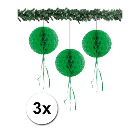 Papieren kerstballen 30 cm groen 3 stuks